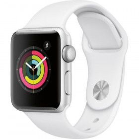 Apple Watch Series 3 (GPS) 38mm Silver Aluminum Case with White Sport Band - Silver Aluminum